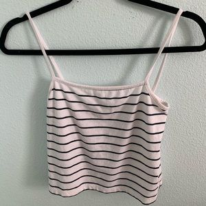 Striped Navy Blue and White Tank Top